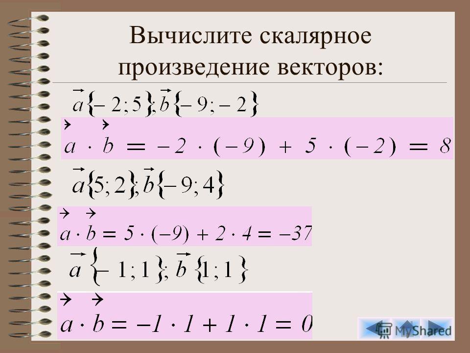 Вычислите скалярное произведение векторов: