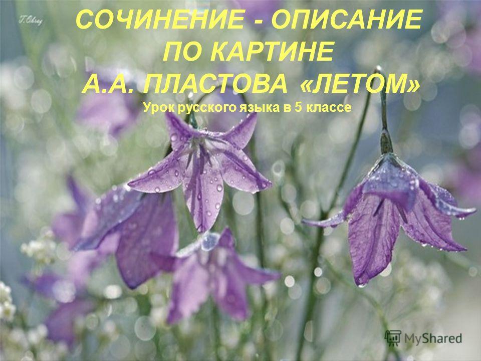 СОЧИНЕНИЕ - ОПИСАНИЕ ПО КАРТИНЕ А.А. ПЛАСТОВА «ЛЕТОМ» Урок русского языка в 5 классе
