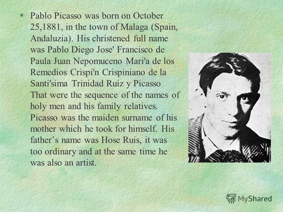 Pablo Picasso Выполнено Макаровой Анастасией, ученицей 10 «Б» класса МОУ «Западнодвинская СОШ 1»