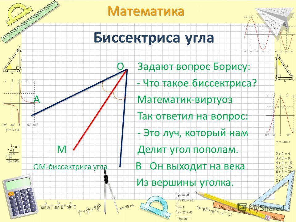 Математика Биссектриса угла О Задают вопрос Борису: - Что такое биссектриса? А Математик-виртуоз Так ответил на вопрос: - Это луч, который нам М Делит угол пополам. ОМ-биссектриса угла В Он выходит на века Из вершины уголка.