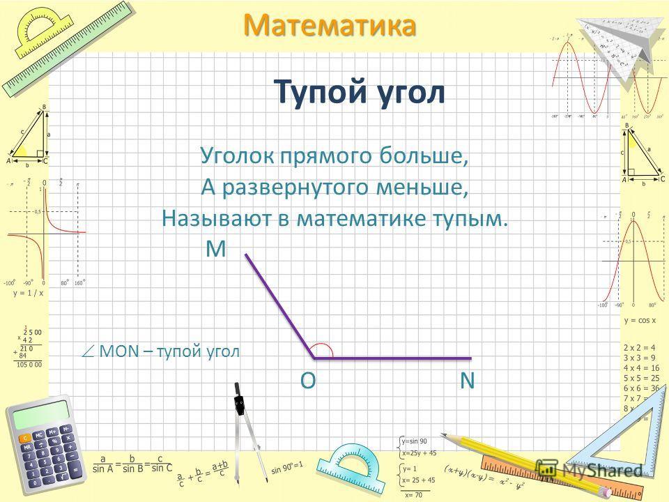 Математика Тупой угол Уголок прямого больше, А развернутого меньше, Называют в математике тупым. М МОN – тупой угол О N