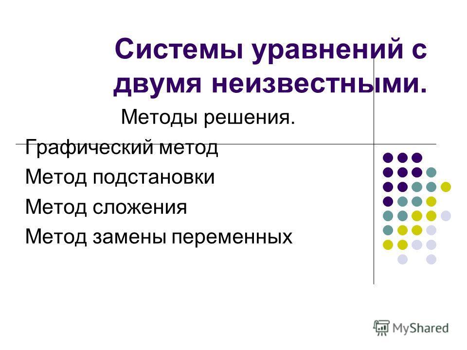 Системы уравнений с двумя неизвестными. Методы решения. Графический метод Метод подстановки Метод сложения Метод замены переменных
