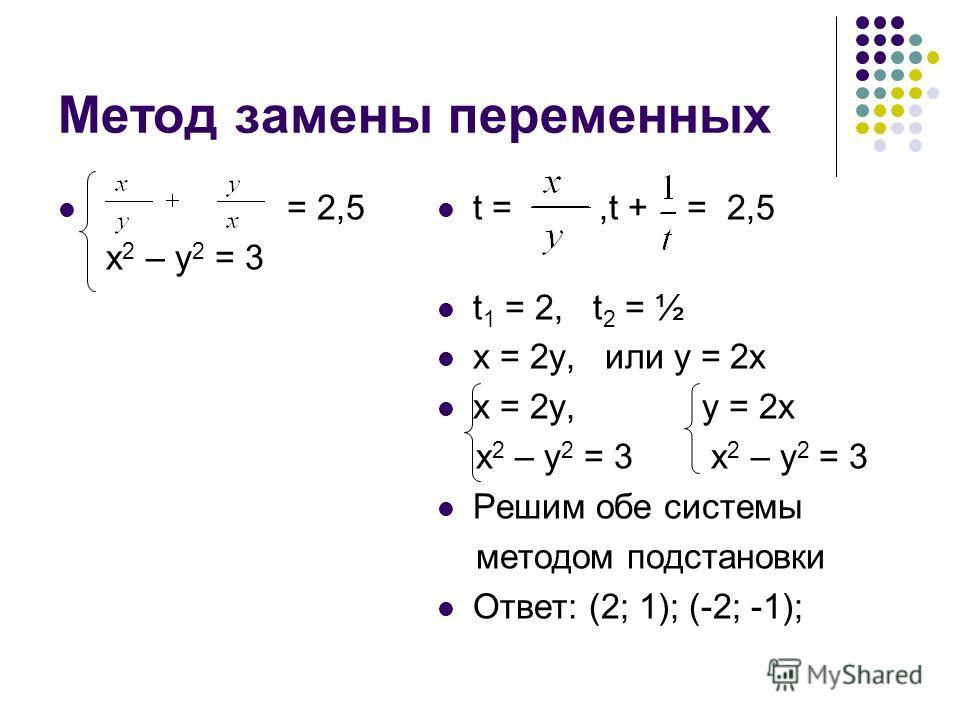 Метод замены переменных = 2,5 х 2 – у 2 = 3 t =,t + = 2,5 t 1 = 2, t 2 = ½ х = 2 у, или у = 2 х х = 2 у, у = 2 х х 2 – у 2 = 3 х 2 – у 2 = 3 Решим обе системы методом подстановки Ответ: (2; 1); (-2; -1);