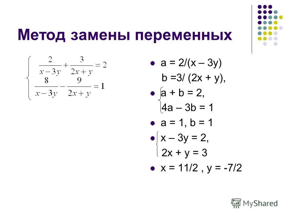 Метод замены переменных а = 2/(х – 3 у) b =3/ (2 х + у), а + b = 2, 4 а – 3b = 1 а = 1, b = 1 х – 3 у = 2, 2 х + у = 3 х = 11/2, у = -7/2