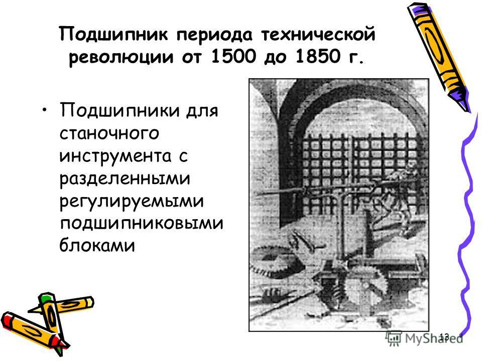 13 Подшипник периода технической революции от 1500 до 1850 г. Подшипники для станочного инструмента с разделенными регулируемыми подшипниковыми блоками