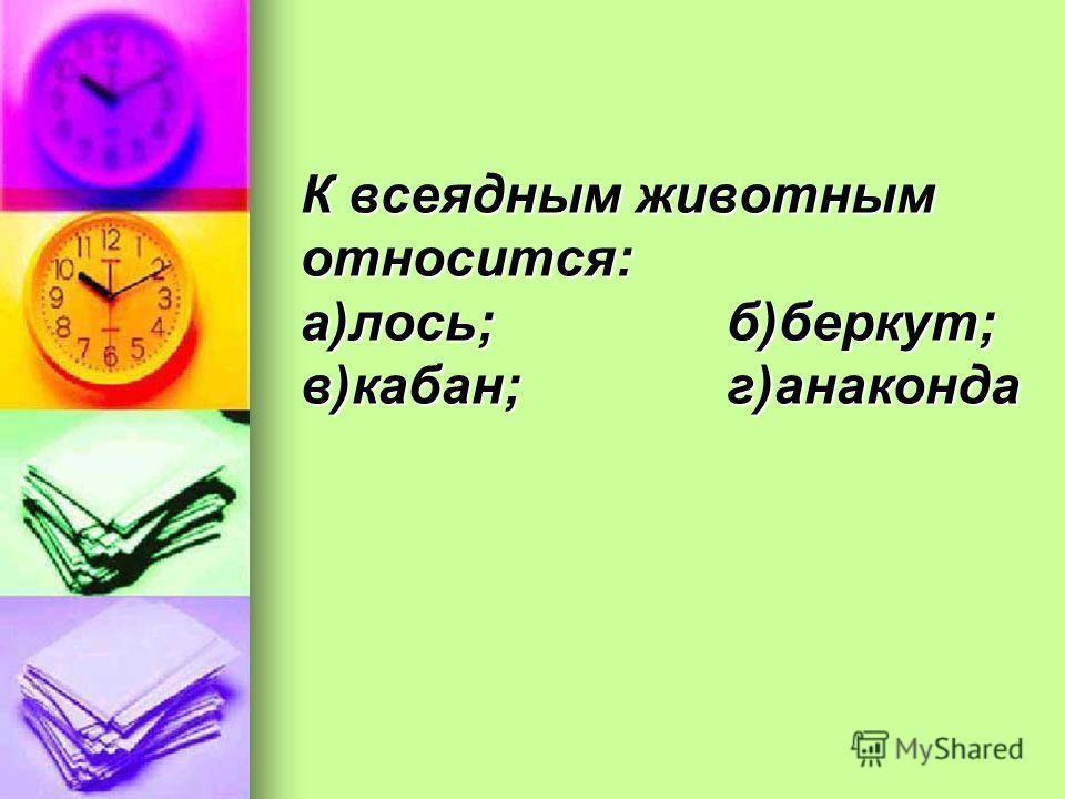 К всеядным животным относится: а)лось;б)беркут; в)кабан;г)анаконда