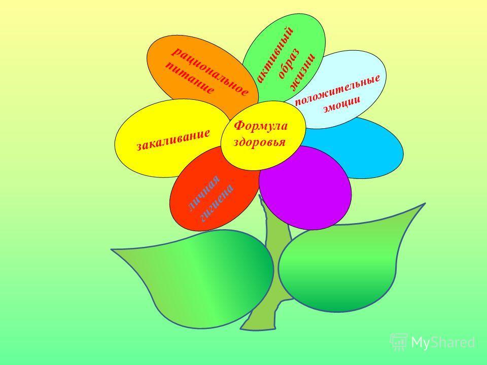 Формула здоровья рациональное питание личная гигиена закаливание активный образ жизни положительные эмоции
