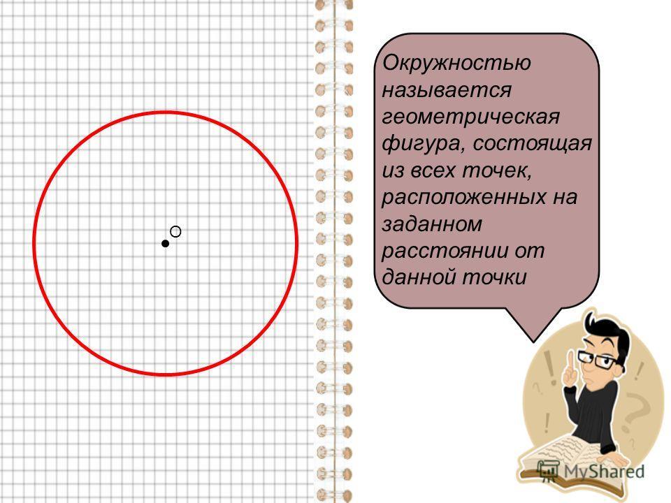 О Окружностью называется геометрическая фигура, состоящая из всех точек, расположенных на заданном расстоянии от данной точки