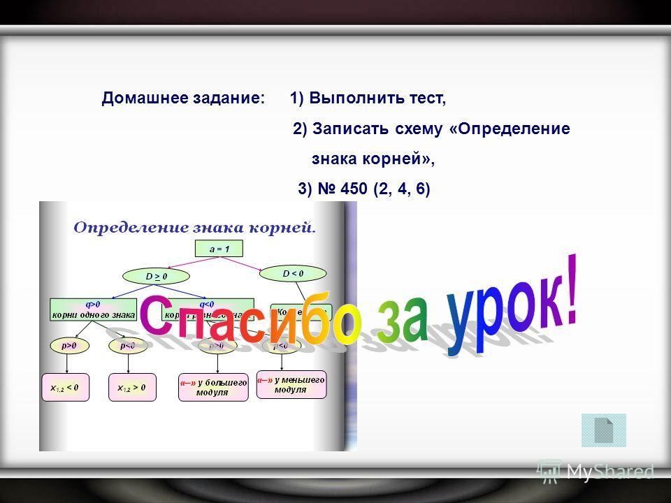 Домашнее задание: 1) Выполнить тест, 2) Записать схему «Определение знака корней», 3) 450 (2, 4, 6)