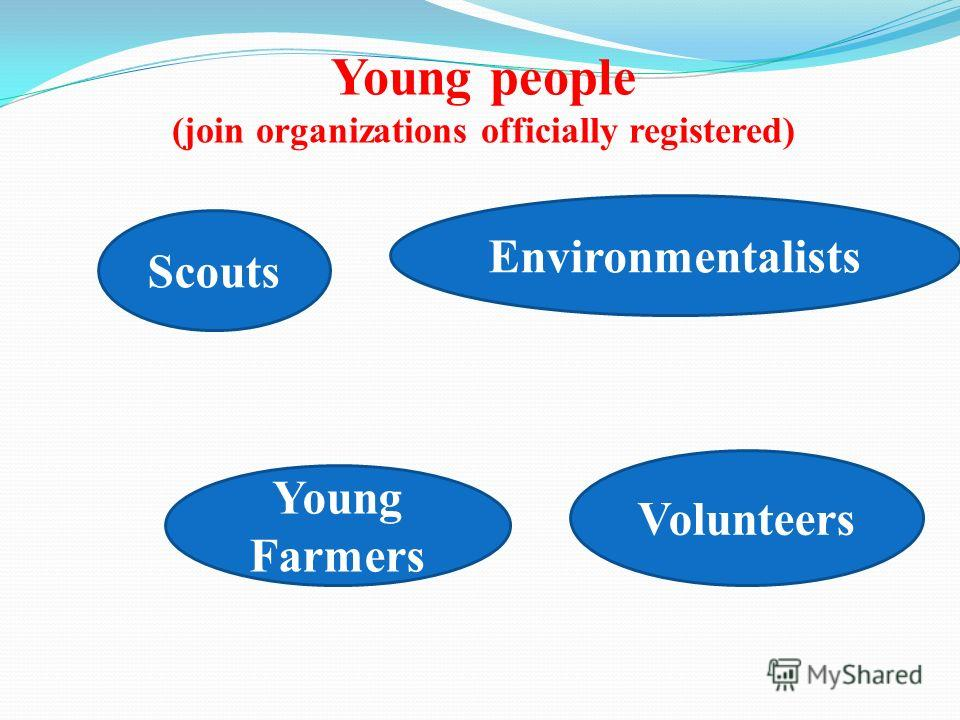 Young people (join organizations officially registered) Scouts Volunteers Young Farmers Environmentalists
