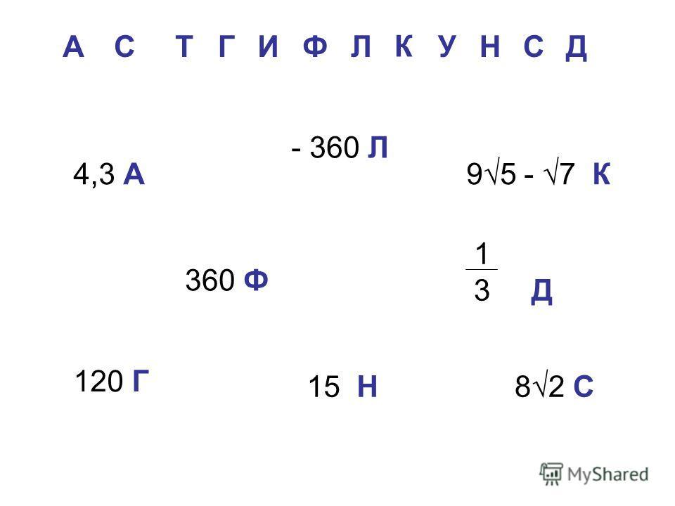 А С Г Т И Ф Л К У Д Н С 4,3 А 360 Ф 120 Г 95 - 7 К 1 3 Д 15 Н82 С - 360 Л