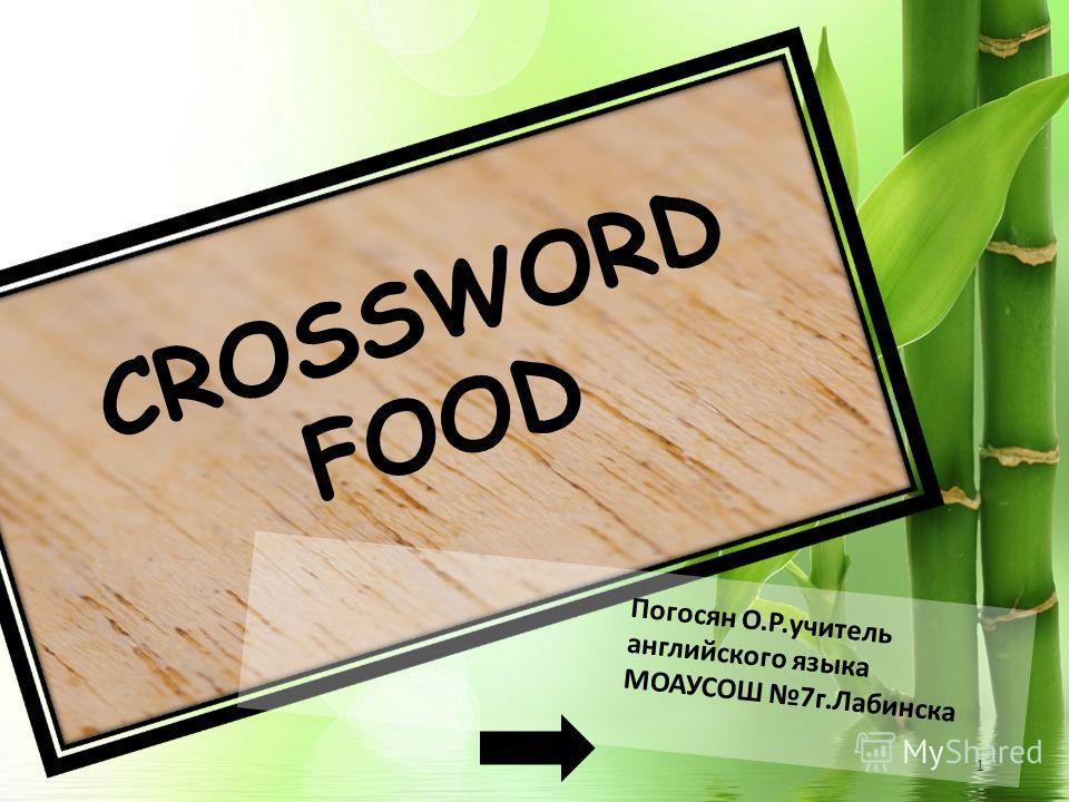 1 CROSSWORD FOOD Погосян О.Р.учитель английского языка МОАУСОШ 7 г.Лабинска