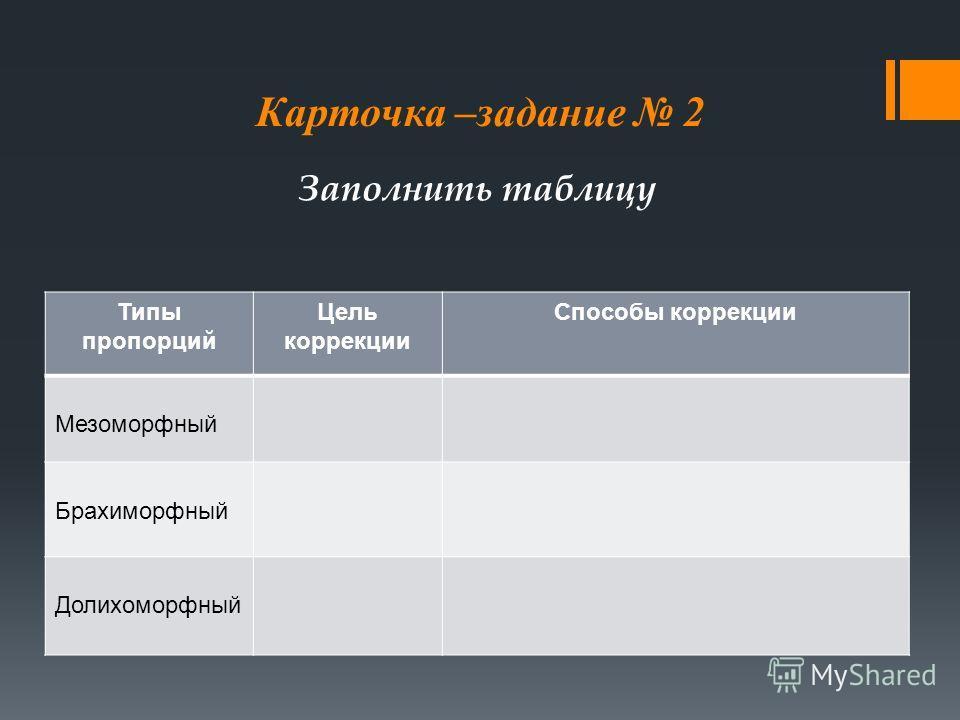 Карточка –задание 2 Типы пропорций Цель коррекции Способы коррекции Мезоморфный Брахиморфный Долихоморфный Заполнить таблицу