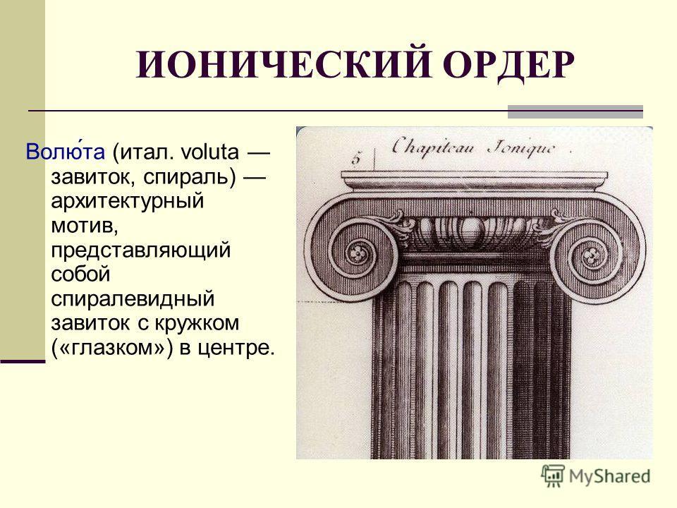 ИОНИЧЕСКИЙ ОРДЕР Волю́та (итал. voluta завиток, спираль) архитектурный мотив, представляющий собой спиралевидный завиток с кружком («глазком») в центре.