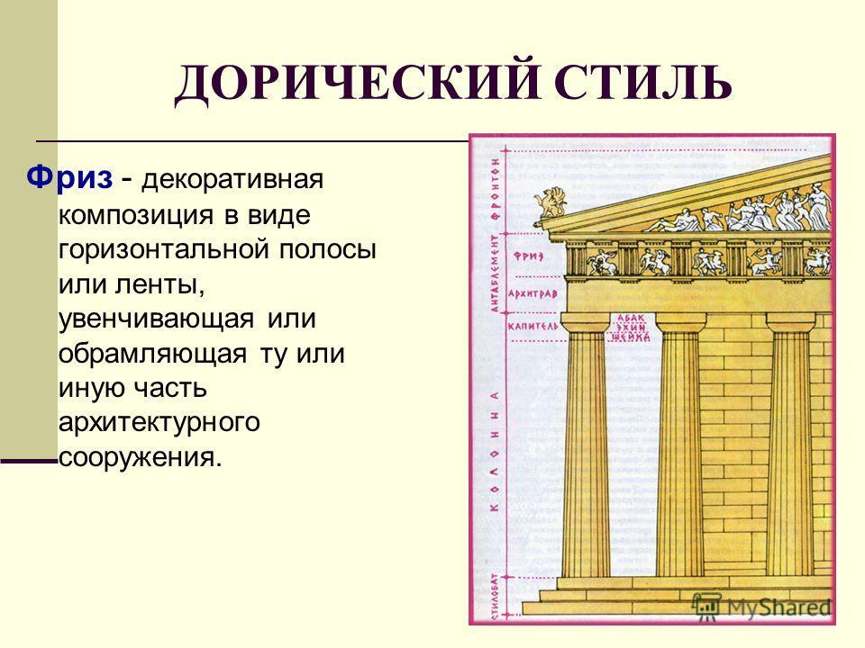 ДОРИЧЕСКИЙ СТИЛЬ Фриз - декоративная композиция в виде горизонтальной полосы или ленты, увенчивающая или обрамляющая ту или иную часть архитектурного сооружения.