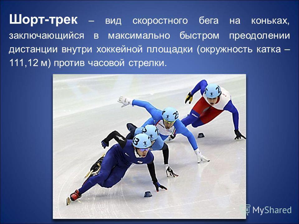 Шорт-трек – вид скоростного бега на коньках, заключающийся в максимально быстром преодолении дистанции внутри хоккейной площадки (окружность катка – 111,12 м) против часовой стрелки.