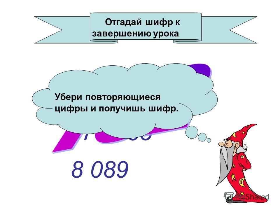 Примеры 652 100 579 085 8 089 Отгадай шифр к завершению урока Убери повторяющиеся цифры и получишь шифр.