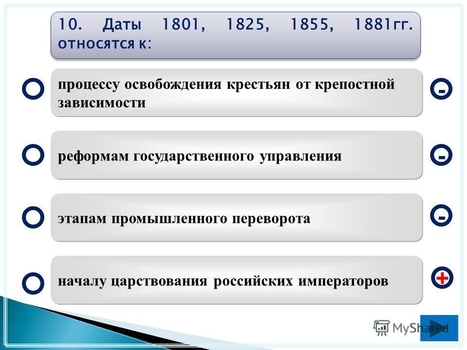 1953-1964 гг. 1945-1953 гг. 1965-1985 гг. 1981-1991 гг. - - + - 9. Какой из указанных периодов был назван периодом «оттепели»?