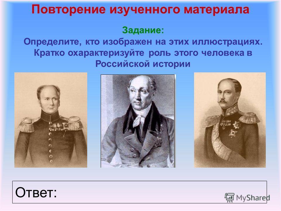 Повторение изученного материала Задание: Определите, кто изображен на этих иллюстрациях. Кратко охарактеризуйте роль этого человека в Российской истории Ответ:
