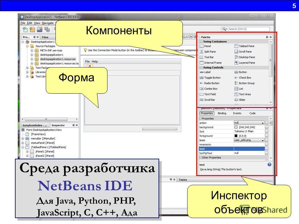 5 Инспектор объектов Компоненты Форма Среда разработчика NetBeans IDE Для Java, Python, PHP, JavaScript, C, C++, Ада Среда разработчика NetBeans IDE Для Java, Python, PHP, JavaScript, C, C++, Ада