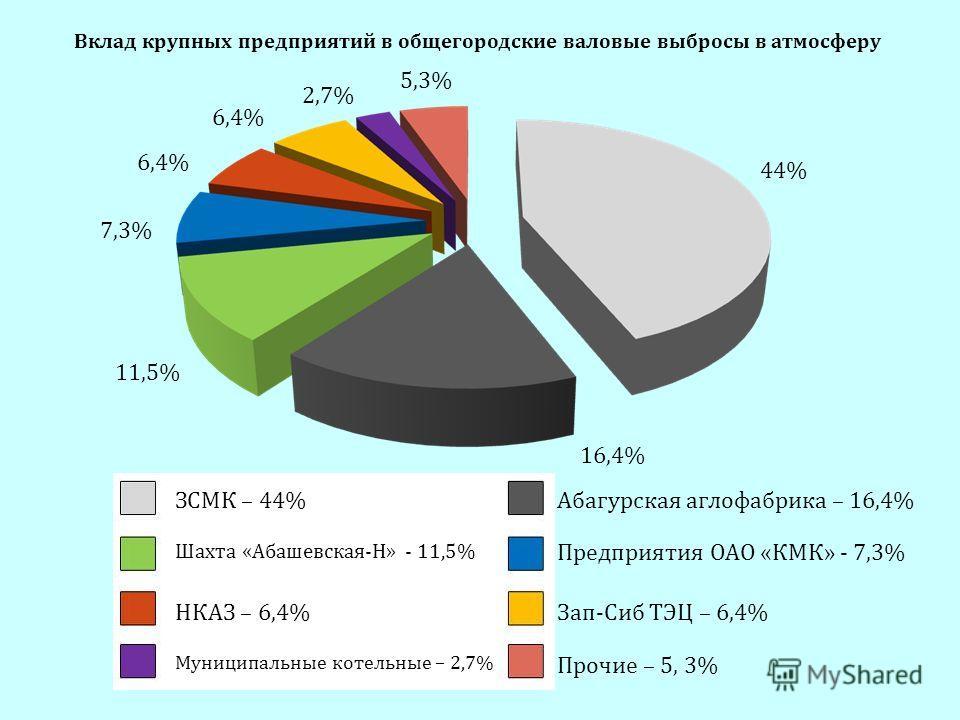 ЗСМК – 44% Шахта «Абашевская-Н» - 11,5% НКАЗ – 6,4% Муниципальные котельные – 2,7% Абагурская аглофабрика – 16,4% Предприятия ОАО «КМК» - 7,3% Зап-Сиб ТЭЦ – 6,4% Прочие – 5, 3% 44% 16,4% 11,5% 7,3% 6,4% 2,7% 5,3% Вклад крупных предприятий в общегород
