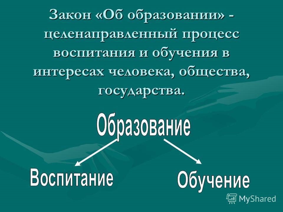 Закон «Об образовании» - целенаправленный процесс воспитания и обучения в интересах человека, общества, государства.