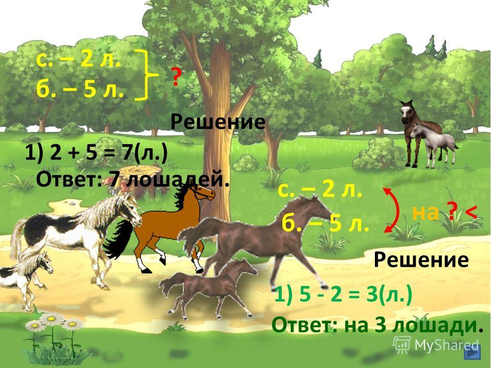 с. – 2 л. б. – 5 л. ? Решение 1) 2 + 5 = 7(л.) Ответ: 7 лошадей. с. – 2 л. б. – 5 л. на ? < Решение 1) 5 - 2 = 3(л.) Ответ: на 3 лошади.