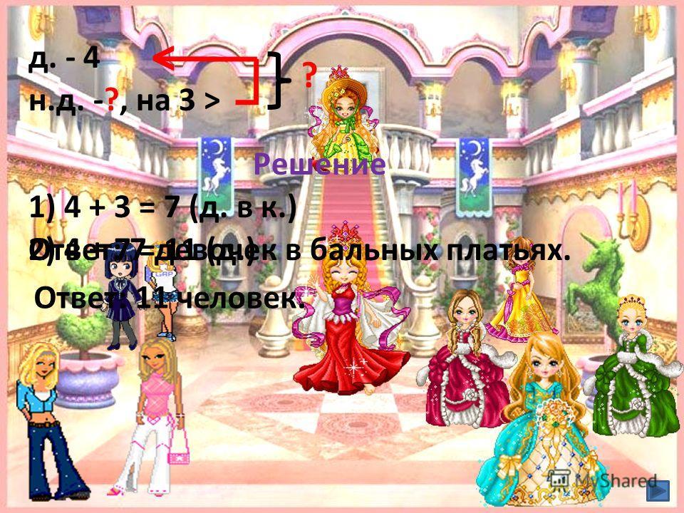 д. - 4 н.д. -?, на 3 > < ? Решение 1) 4 + 3 = 7 (д. в к.) Ответ: 7 девочек в бальных платьях.2) 4 + 7 = 11 (д.) Ответ: 11 человек.