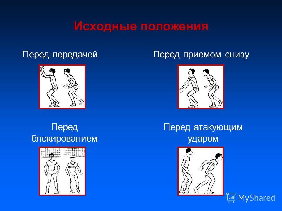 Исходные положения Перед передачей Перед приемом снизу Перед блокированием Перед атакующим ударом