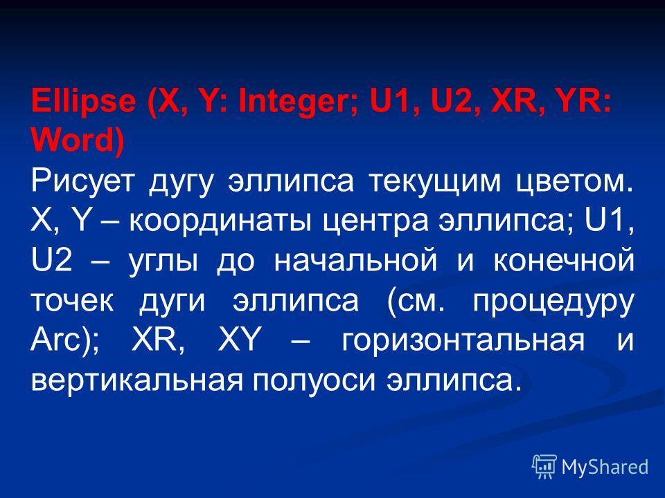 Ellipse (X, Y: Integer; U1, U2, XR, YR: Word) Рисует дугу эллипса текущим цветом. X, Y – координаты центра эллипса; U1, U2 – углы до начальной и конечной точек дуги эллипса (см. процедуру Arc); XR, XY – горизонтальная и вертикальная полуоси эллипса.