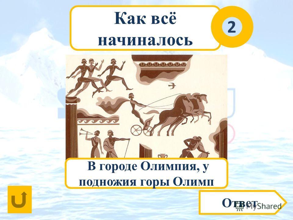 Как всё начиналось 2 Ответ Где именно в Древней Греции проводились Игры? В городе Олимпия, у подножия горы Олимп