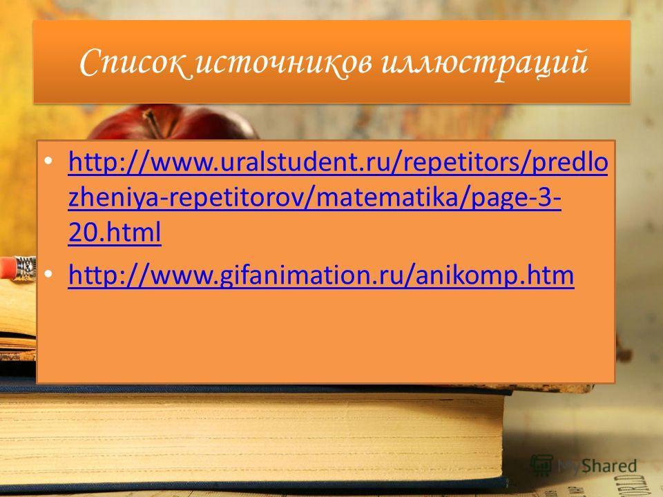 Список источников основного содержания Тесты по алгебре, к учебнику А.Г. Мордковича «Алгебра. 7 класс» (издательство «Экзамен», 2010 год)
