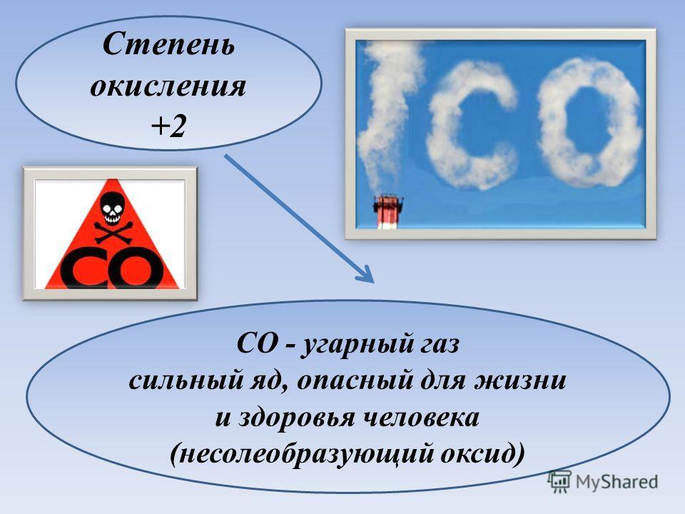 Степень окисления +2 CO - угарный газ сильный яд, опасный для жизни и здоровья человека (несолеобразующий оксид)