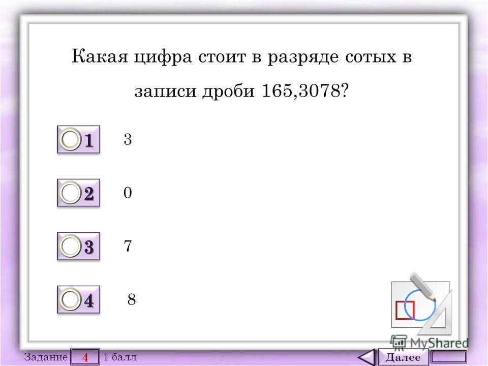 Далее 4 Задание 1 балл 1111 1111 2222 2222 3333 3333 4444 4444 Какая цифра стоит в разряде сотых в записи дроби 165,3078? 3 7 0 8