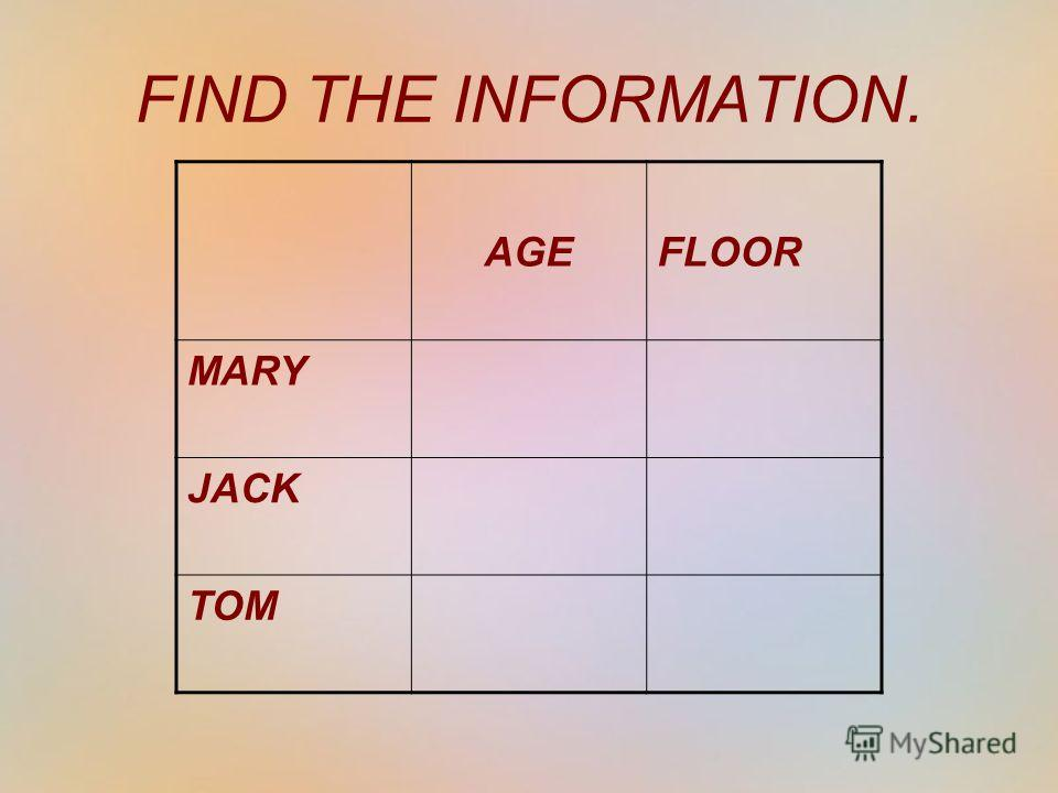 AGEFLOOR MARY JACK TOM FIND THE INFORMATION.