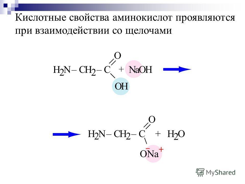 Кислотные свойства аминокислот проявляются при взаимодействии со щелочами