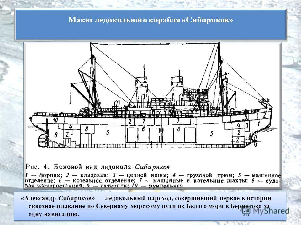 «Александр Сибиряков» ледокольный пароход, совершивший первое в истории сквозное плавание по Северному морскому пути из Белого моря в Берингово за одну навигацию. Макет ледокольного корабля «Сибиряков»