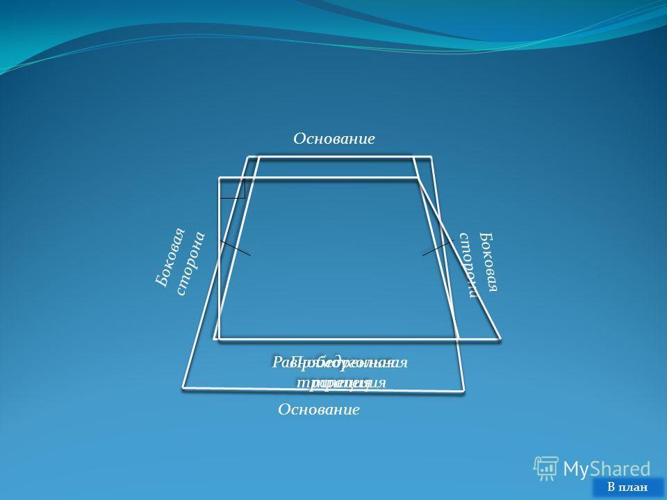 Основание Боковая сторона Основание Прямоугольная трапеция В план