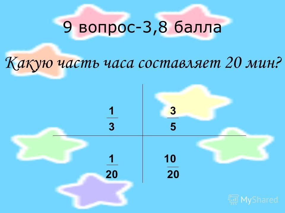 9 вопрос-3,8 балла Какую часть часа составляет 20 мин? 1 3 3 5 1 10 20