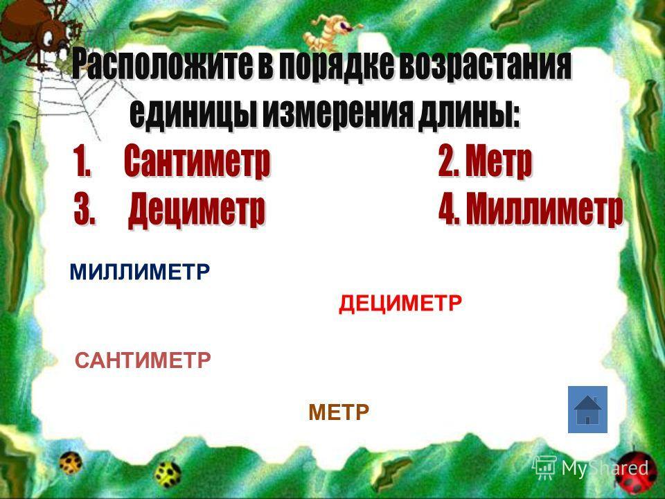 МИЛЛИМЕТР САНТИМЕТР ДЕЦИМЕТР МЕТР