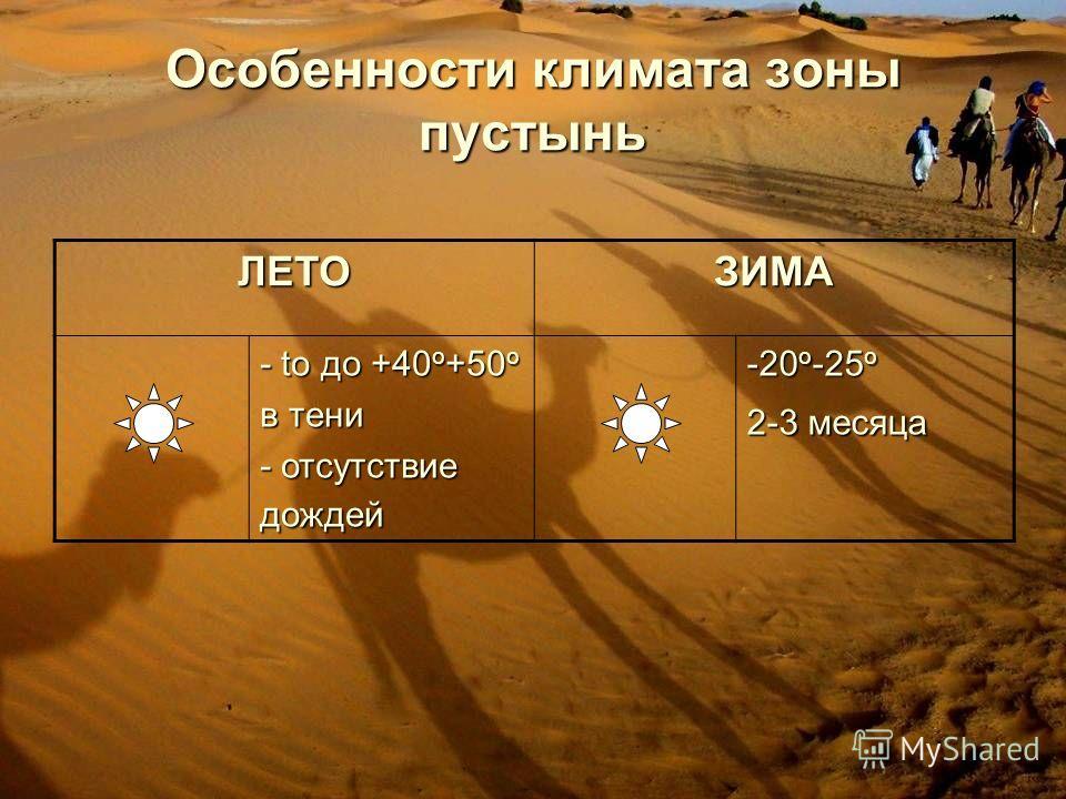 Особенности климата зоны пустынь ЛЕТОЗИМА - to до +40 о +50 о в тени - отсутствие дождей -20 о -25 о 2-3 месяца