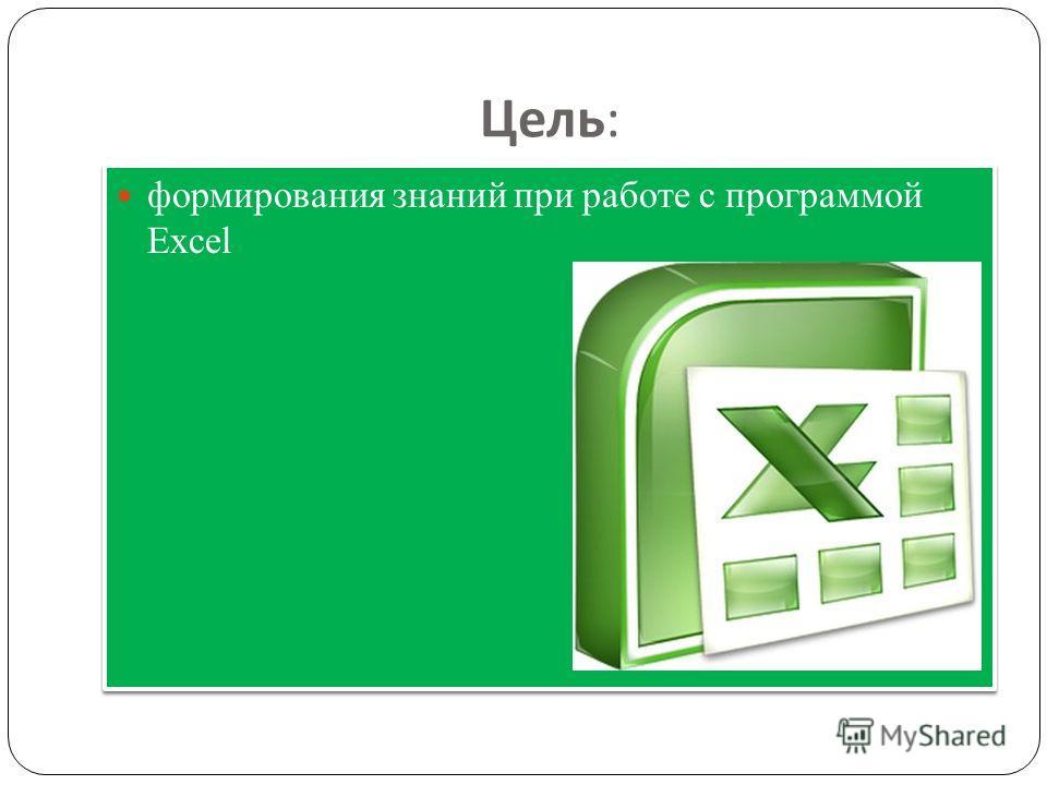 Цель : формирования знаний при работе с программой Excel
