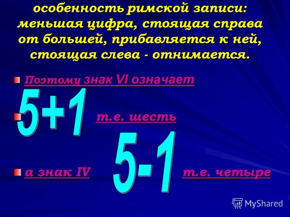 особенность римской записи: меньшая цифра, стоящая справа от большей, прибавляется к ней, стоящая слева - отнимается. Поэтому знак VI означает т.е. шесть а знак IV т.е. четыре