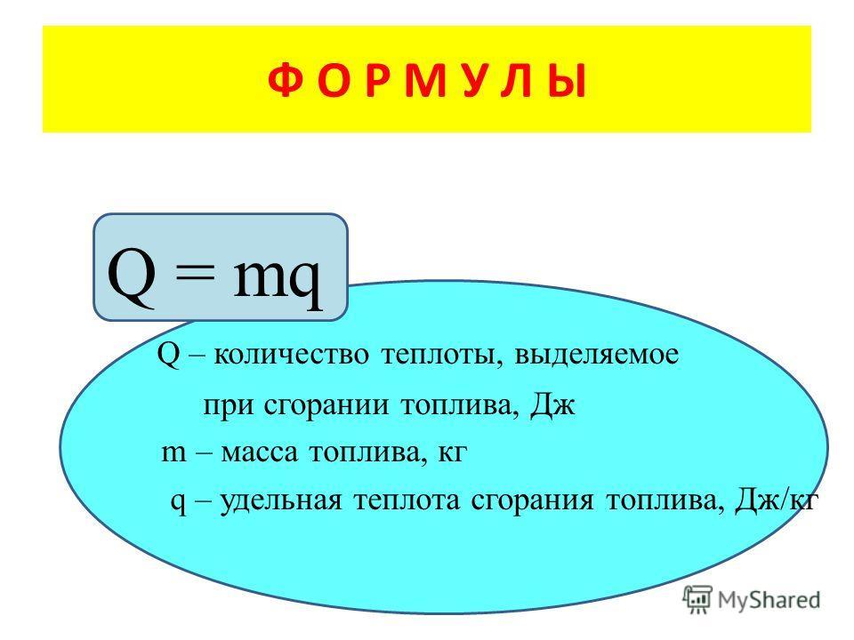 Q = mq Q – количество теплоты, выделяемое при сгорании топлива, Дж m – масса топлива, кг q – удельная теплота сгорания топлива, Дж/кг