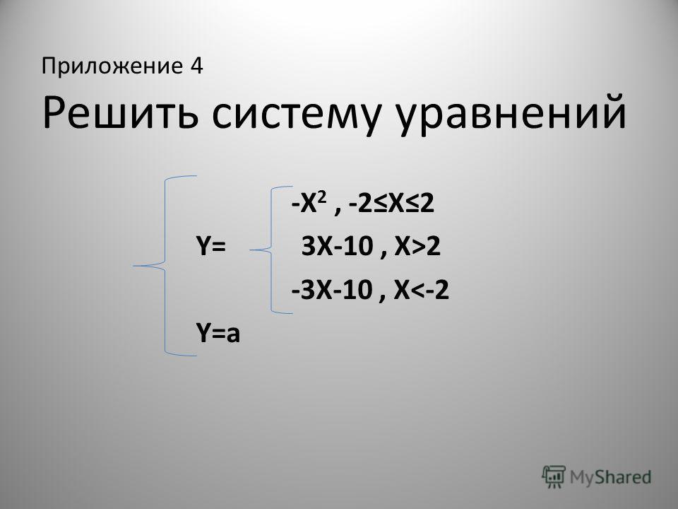 Приложение 4 Решить систему уравнений -X 2, -2X2 Y= 3X-10, X>2 -3X-10, X