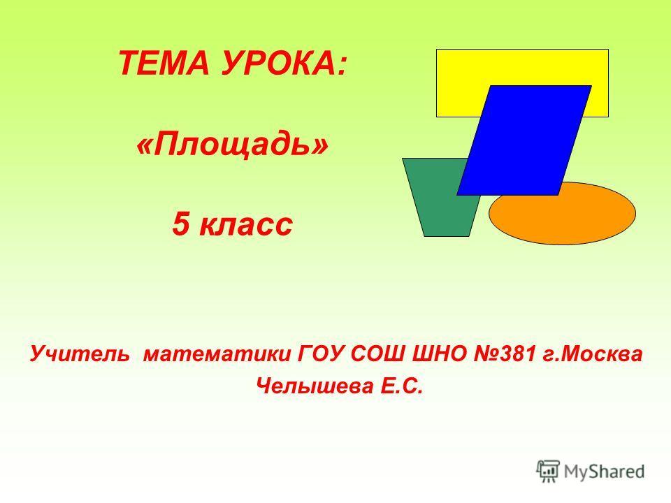 ТЕМА УРОКА: «Площадь» 5 класс Учитель математики ГОУ СОШ ШНО 381 г.Москва Челышева Е.С.