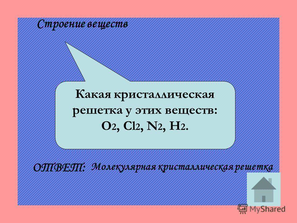 Какая кристаллическая решетка у этих веществ: O 2, Cl 2, N 2, H 2. ОТВЕТ: Молекулярная кристаллическая решетка Строение веществ