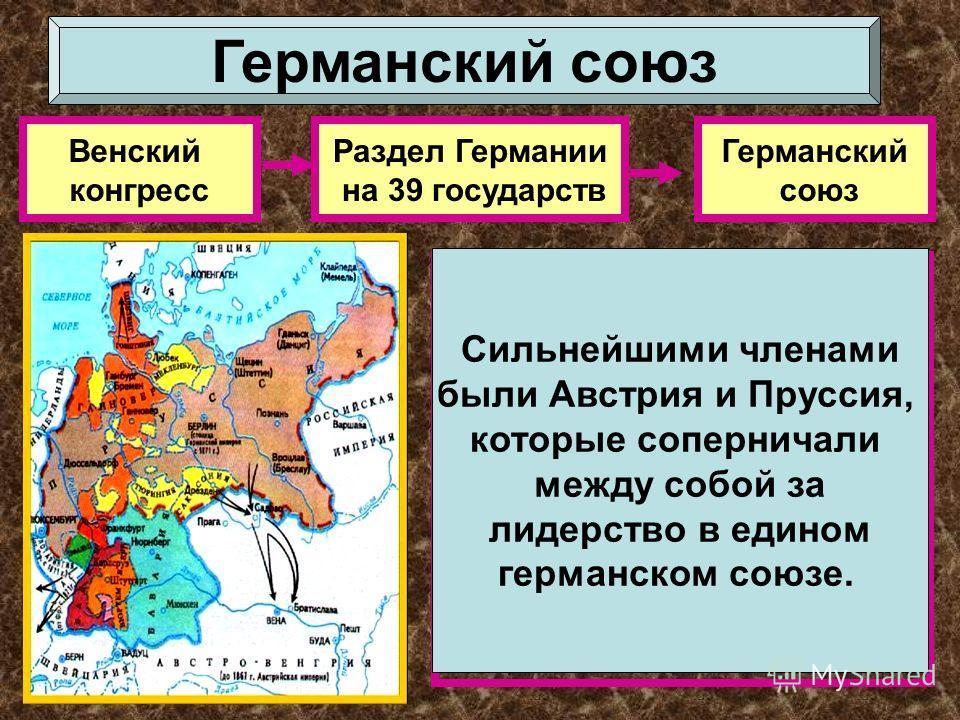 Венский конгресс Раздел Германии на 39 государств Германский союз Почему Германский союз не стал прочным объединением германских государств? Сильнейшими членами были Австрия и Пруссия, которые соперничали между собой за лидерство в едином германском