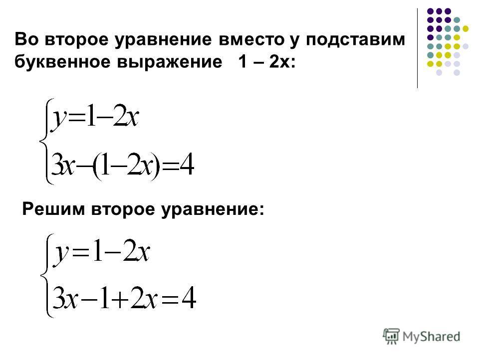 Во второе уравнение вместо у подставим буквенное выражение 1 – 2 х: Решим второе уравнение: