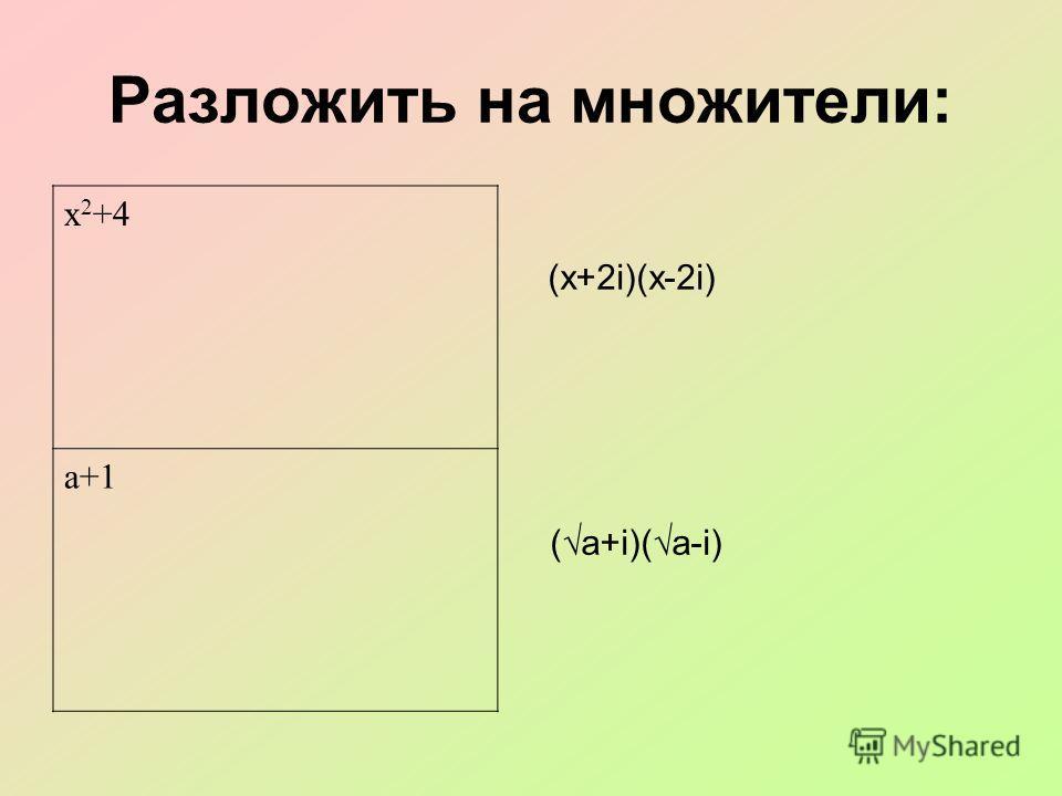 Разложить на множители: (х+2i)(х-2i) ( а+i)( a-i) х 2 +4 а+1
